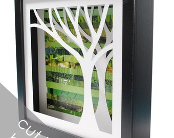 tree shadowbox- on the right- made from recycled magazines, handcut, colorful, green, nature, natural