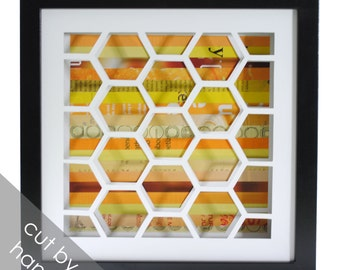 honeycomb shadowbox- made from recycled magazines, bees, honey, hive, honeycomb, yellow, orange
