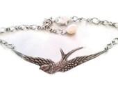 Silver Bracelet Pearl Jewelry Swallow Cuff antiqued silver adjustable bird in flight