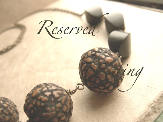 RESERVED - Five Dark Brown Seed and Wood Beaded Brass Necklaces - Espresso.