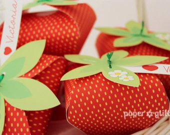 Strawberry Paper favor party box printables - RED color Editable Text Printable PDF