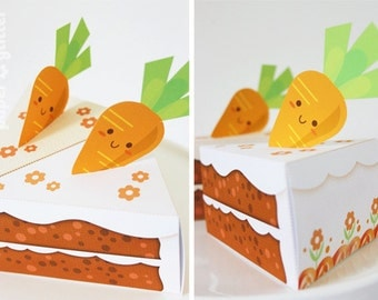 Carrot Paper Cake Slice favor baking party box printables for easter, spring or anytime - Editable Text Printable PDF