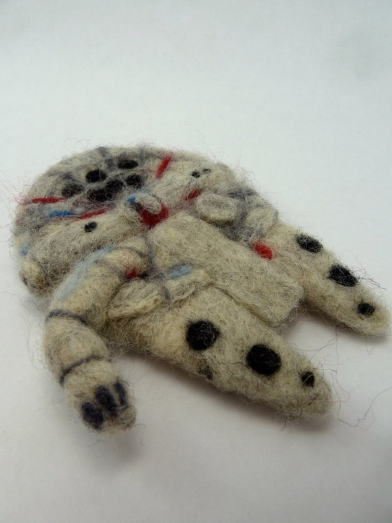 Millenium Falcon, Wool Felted STAR WARS ornament, decoration made to order
