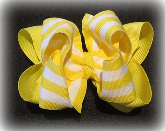 Yellow Striped Hair Bow Fabulous Double Layered Boutique Hairbow Lush with Spikey Edges for Baby Toddler to Little Girl