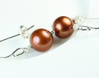 Pearl Drop Earrings, Freshwater pearls, copper color, Sterling Hooks, Earthy Pearl Dangle, simple pearl earrings, Free shipping in Canada
