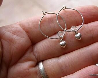 Valentine ,Heart Earrings , Silver Earrings , Silver Heart Hoop Earrings Heart ,Sterling Silver , Modern Everyday Earrings , Valentine's Day