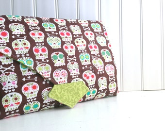 All-in-1 Diaper Clutch - Diaper Changing Pad and Wipes Clutch - Bonehead Brown - Made to Order