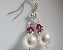 CUSTOM COLOR Bridesmaid Earrings, Swarovski White Pearl and Fuschia Crystal Earrings, Fuschia Earrings, Will You Be My Bridesmaid