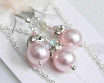 Light Pink Jewelry, Pink Pearl Jewelry Set, Pink Pearl Necklace, Bridesmaid Gift, Light Pink Bridesmaid Jewelry Set  Maid of Honor Gift