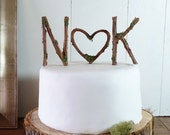 Rustic Wedding Cake Topper - Any Two Vine Letters with Heart