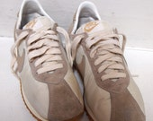 """1980s women's athletic shoes -- vintage Nike """"Diablo"""" -- ivory and beige size 8.5"""