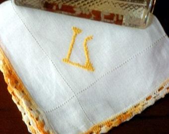 "Beautiful ""L"" Monogram in Yellow    on  White   Linen Hanky/Handkerchief with  Yellow  Crochet  Edging,"