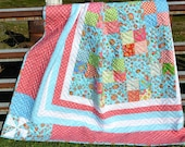 Patchwork Quilt, Lily Quilt, Queen Size NEW SALE PRICE