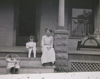 Mom & Girls on Front Porch w/ Rocking Horse - Real Photo Postcard - early 1900's