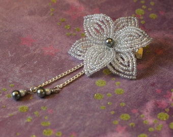 Shooting Star - Hair Clip - French Beaded Flower Kanzashi Maiko Geisha Japanese Hair Accessory