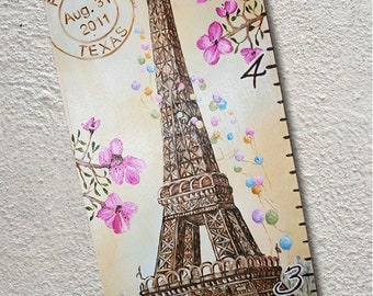 Custom Painted Growth Chart Canvas Paris Eiffel Tower Balloons