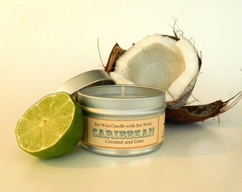 Coconut Lime Soy Candle / scented aromatherapy vegan candle soy tin candles 6oz