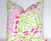 Pillow Cover - Throw Pillow - Sofa Pillow - Toss Pillow - Decorative Pillow - 17.5x17.5 in - Pink - Green - Fuschia