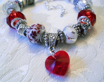 Red Heart Valentine European Style Bracelet with Large Chunky Beads