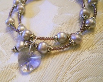 Lavender Provence Crystal Heart on a 2 Strand Pearl and Seed Bead Bracelet