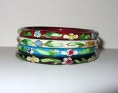 Vintage Set of 4 Cloisonne Bangle Bracelets DEADSTOCK