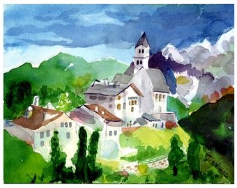 Cortina, Italy - Italian Wall Art Home Decor, Cortina Watercolor Print, Italian Landscape Watercolor Print, Italian Scenery, North Italy