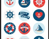 Hello Sailor 2 inch Round Printable Circles for stickers, cupcake toppers, cards, stationary, invitations, scrapbooking and all paper crafts