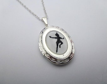 Peter Pan Flying Silhouette Silver Locket Necklace/Pendant