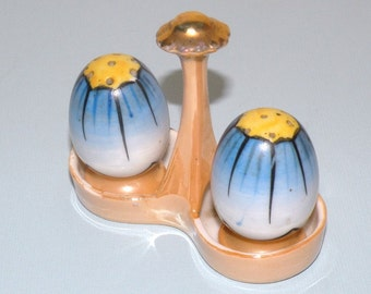 1930s Sweet Chikaramachi Lusterware Egg Salt and Pepper Shakers in a handled container