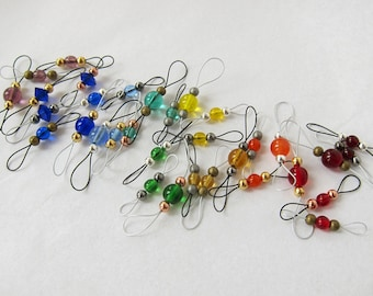 Beaded stitch markers, adjustable size double sided loops for knitting - custom set of 6 (SIX) MTO