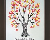 Unique Fall Wedding Guestbook Thumbprint Tree for up to 30 Guests