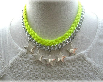 Silver and Neon Yellow Braided Star Necklace