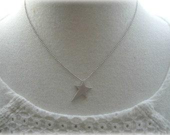 Matt Silver Skewed Star Necklace