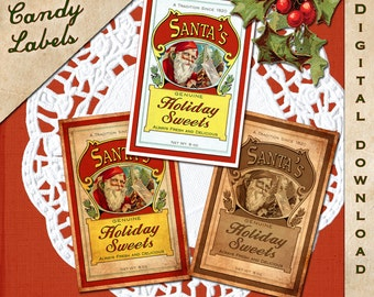 Christmas Candy Label Vintage Digital Download Printable Collage Sheet Clip Art Tag - INSTANT DOWNLOAD