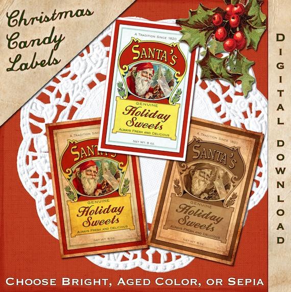 Christmas Candy Label Vintage Digital Download Printable Collage Sheet Clip Art Tag - INSTANT DOWNLOAD
