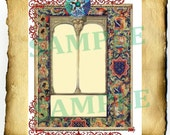 "Digital Graphic ""Medieval Window Tapestry"" Border - Clipart Page, Wiccan Pagan Pentacle BoS Book of Shadows"