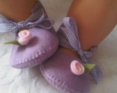 Lilac with pink rose baby felt shoes