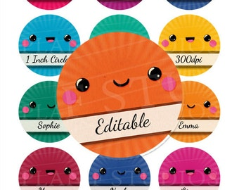 Editable Digital Collage Sheet of Cute Kawaii Faces - Add Your Own Text - Instant Downloads Pdf and Jpg