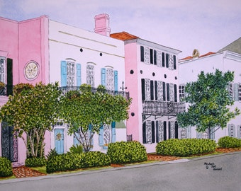Rainbow Row Charleston SC Print from the Original Watercolor by Michael Joe Moore