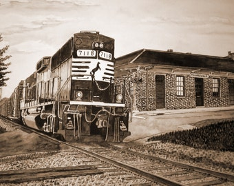 The Train at Mooresville North Carolina Sepia from the Original Watercolor by Michael Joe Moore
