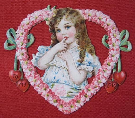 Valentine's Day Decor Vintage Valentine Card Die Cut Heart Wreath Red Cherry Hearts Framed