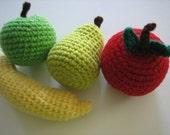 Apple, Banana, Pear and Orange Play Set - Pre-school plushy toys and Birthday gifts for toddlers