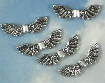12 Wing Spacer Beads Detailed Scroll Silver Tone 2 Sided Wings 22mm Eagle, Bird, Angel (P611)