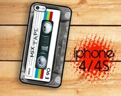 Mix Tape Phone Case For iPhone 4 and iPhone 4S  Classic 80's Cassette Rainbow Mix Tape  Rubber Trim