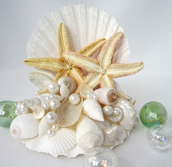 beach wedding starfish seashell cake topper by beachgrasscottage. Black Bedroom Furniture Sets. Home Design Ideas