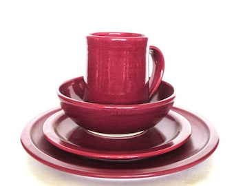 Raspberry Pottery Dinnerware Set-- Hand made Hand crafted Ceramic Dinner Plate Sets-- Dinner Plate, Salad Plates, Bowls and Mugs Stoneware
