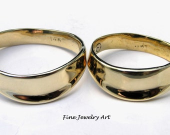"His Hers Matching  Wedding Ring Bands Handmade Wave 14k Plain Gold Flowing Ocean Inspired ""Gentle Ebb""  Unique Artist Design"