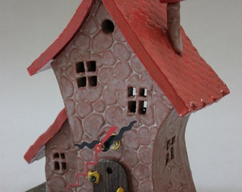 Whimsical Ceramic House Desk Clock Item C1197