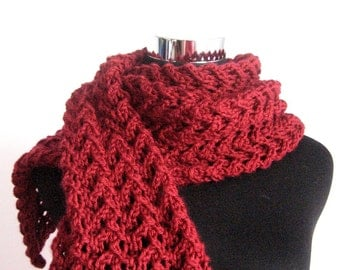 Marsala Lace Scarf, Dark Red Knit Scarf, Scarf Spring, Womens Accessories, Vegan Red Scarf