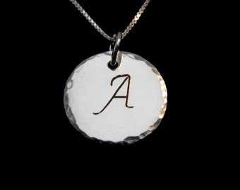 Silver Initial Necklace, Personalized Jewelry